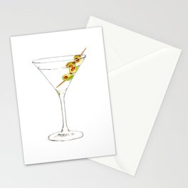 Cocktails. Martini. Watercolor Painting. Stationery Cards