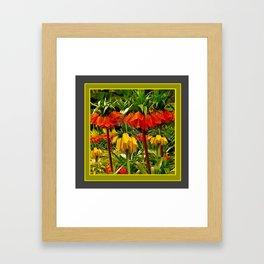 YELLOW & ORANGE CROWN IMPERIALS GARDEN Framed Art Print