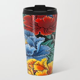 Japanese tattoo style Peonies  Metal Travel Mug