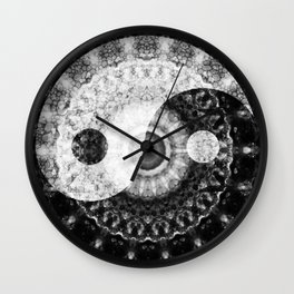 Ideal Balance Black And White Yin and Yang by Sharon Cummings Wall Clock