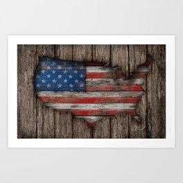 American Wood Flag Art Print