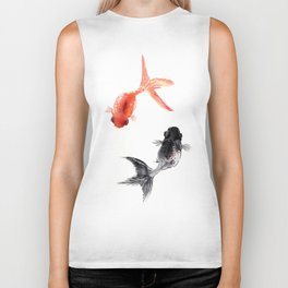 Two KOI , Feng Shui, Fish art, Biker Tank