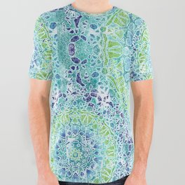 Blue Greenery Tie-Dye Mandala All Over Graphic Tee