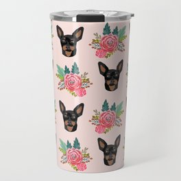 Min Pin miniature doberman pinscher dog breed dog faces cute floral dog pattern Travel Mug