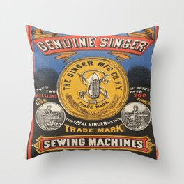 Vintage poster - Singer Sewing Machine Throw Pillow