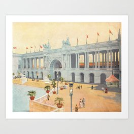 Colonnade at 1893 World's Fair in Chicago Art Print