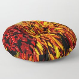 Ristras made from green, yellow, orange and red chile peppers Floor Pillow