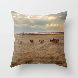 Cows Among the Grass - Cattle Wade Through a Field in Texas Throw Pillow