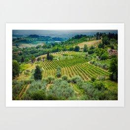 Tuscan Hillside, San Gimignano, Italy Art Print