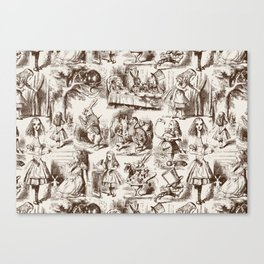 Alice in Wonderland | Toile de Jouy | Brown and Beige Canvas Print
