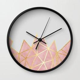 Pink & Gold Geometric Wall Clock