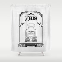 majora Shower Curtains featuring Zelda legend - Lon Lon Milk by Art & Be