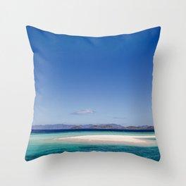 Amazing white beach, blue sea island Philippines | travel photography | art print Throw Pillow