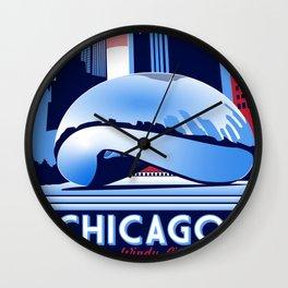 Chicago Illinois Retro Travel poster Wall Clock