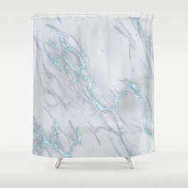 Marble Love Sea Blue Metallic Shower Curtain