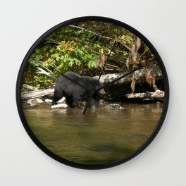 The Salmon Whisperer - A Hunting Black Bear Wall Clock