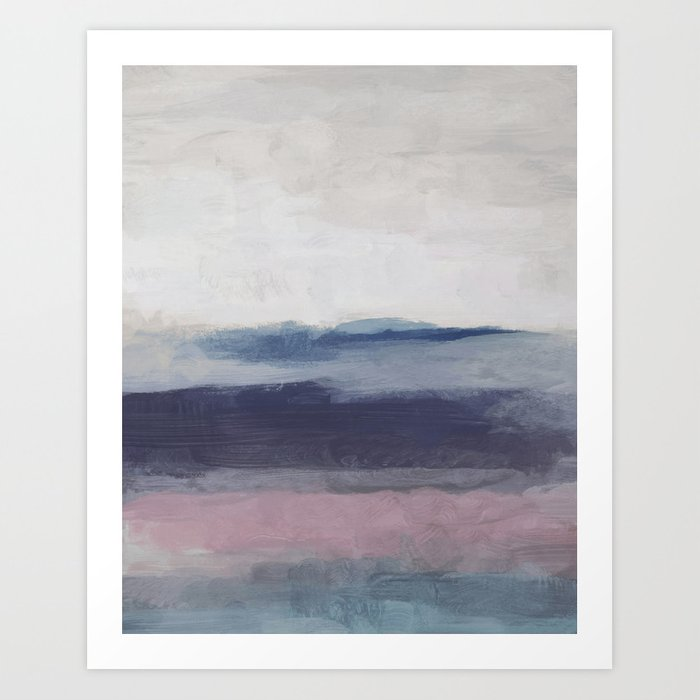 Plum Purple Navy Lavender Blue Abstract Painting Wall Art Prints Ocean Waves Horizon Modern