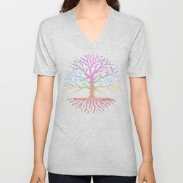 Rainbow Chakra Tree of Life - Real Stitch-able Color Coded Cross Stitch Chart Unisex V-Neck