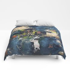 Peacock Blue Abstract Painting Vibrant Modern Art  Comforters