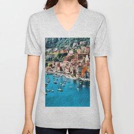 Côte d'Azur - French Riviera, France ocean landscape Unisex V-Neck