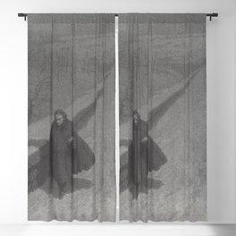Edgar Allan Poe Walking the Bronx's High Bridge black and white lithograph  Blackout Curtain