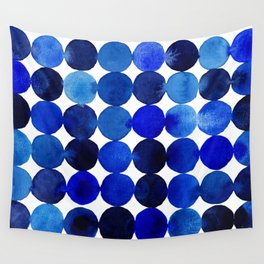 Blue Circles in Watercolor Wall Tapestry