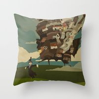 castle Throw Pillows featuring Moving Castle by Danny Haas