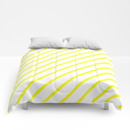 Diagonal Lines (Yellow/White) Comforters