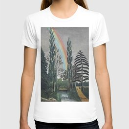 Stormy Sky with Rainbow and Foliage (Lake Daumesnil by Henri Rousseau circa 1898) T-shirt