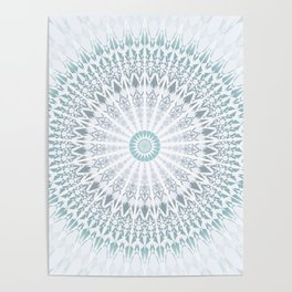 Teal Aqua Mandala Poster