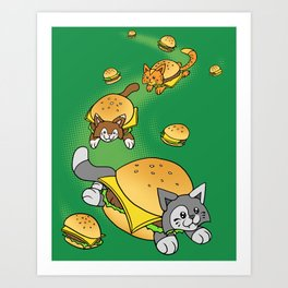 Cat Cheeseburger Train Art Print