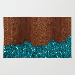Aqua blue sparkles broken rustic brown wood Rug