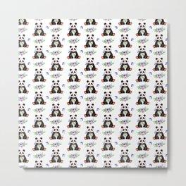 Garden Panda Pattern Metal Print