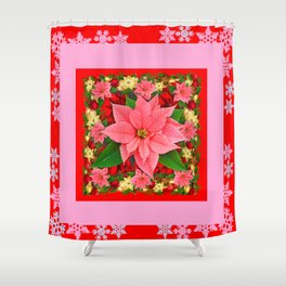 PINK SNOWFLAKES RED & PINK POINSETTIAS CHRISTMAS ART Shower Curtain