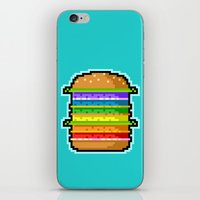 hamburger iPhone & iPod Skins featuring Pixel Hamburger by Sombras Blancas Art & Design