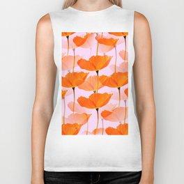 Orange Poppies On A Pink Background #decor #society6 #buyart Biker Tank