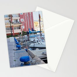 blue moorings in the marina Stationery Cards