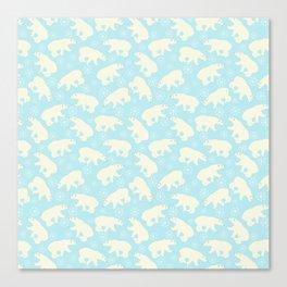 Polar bear pattern on wintry ice aqua background Canvas Print