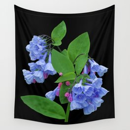 Spring Bluebells on black Wall Tapestry