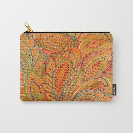 peach paisley Carry-All Pouch