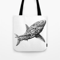 bioworkz Tote Bags featuring Great White by BIOWORKZ