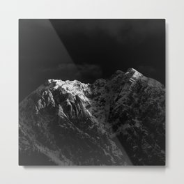 Sunlight hitting the mountains black and white Metal Print