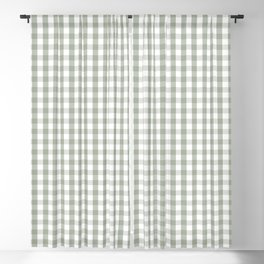 Desert Sage Grey Green and White Gingham Check Blackout Curtain