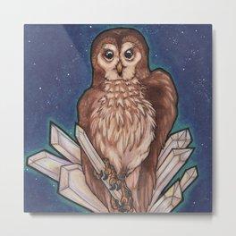 Owl & Crystals Metal Print