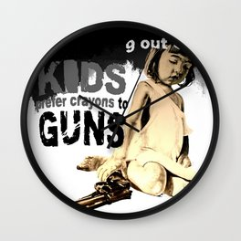 KIDS prefer crayons - black version Wall Clock