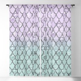 Mermaid Princess Glitter Scales #2 #shiny #pastel #decor #art #society6 Sheer Curtain