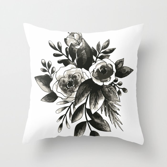 Black Floral Watercolor Bouquet Throw Pillow By Teneshazinne Society6
