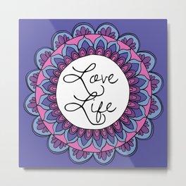 Love Life Mandala Ultraviolet Metal Print