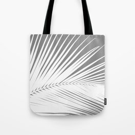 Large Palm Leaf, Grey / Gray and White Tote Bag