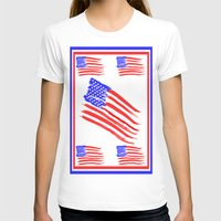 american flag T-shirts featuring American Flag by Art by Samantha Perez